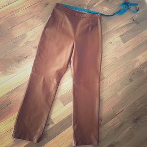 "Brown Leather Pants 🌺""Eather Clio Petites"" sz 10"